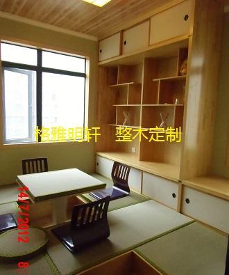 西安红橡原木花格,西安红橡原木门,西安和室装修,西安和室风格茶室,西