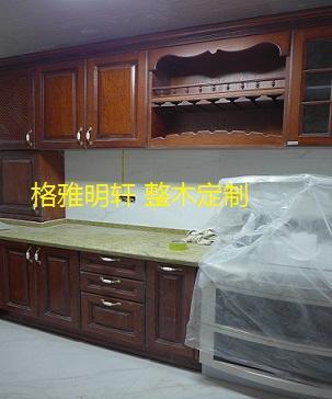 银川西安樱桃木实木橱柜格雅明轩厨房安装实景案例